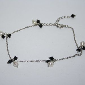 Silver and real pearl ankle bracelet 9-11 inches
